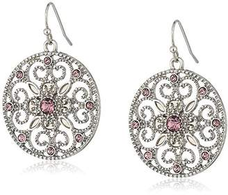 1928 Jewelry Silver-Tone Crystal Round Filigree Drop Earrings