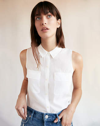 Express Petite Solid Sleeveless City Shirt