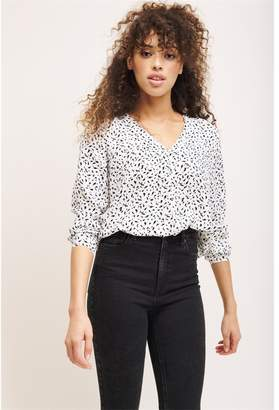 Dynamite Button Front Blouse White W/ Black Dots