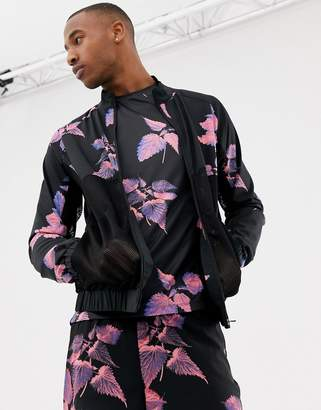 Asos 4505 track jacket with floral print and breathable