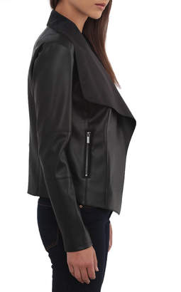 Bagatelle Long-Sleeve Faux-Leather Draped Jacket