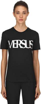 Versus Metal Print Logo Cotton Jersey T-Shirt
