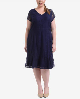 NY Collection Plus Size Lace Flounce-Hem Dress