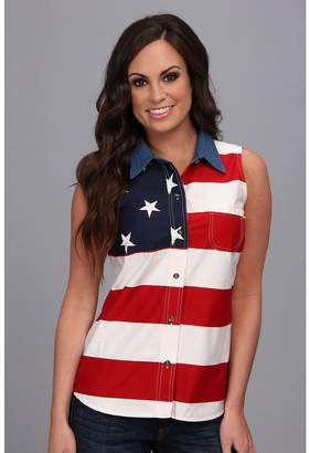 Roper S/L Stars and Stripes Pieced Flag Women's Sleeveless