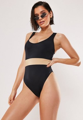 Missguided Black Fuller Bust Contrast Scoop High Leg Swimsuit