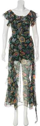 Alice McCall Lurex-Pinstripe Floral Dress w/ Tags
