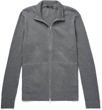 Theory Amadeo Waffle-knit Cotton Zip-up Cardigan - Gray