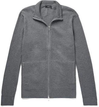 Theory Amadeo Waffle-knit Cotton Zip-up Cardigan - Gray