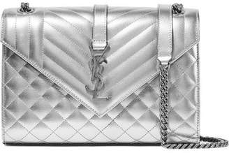 Saint Laurent Envelope Quilted Metallic Leather Shoulder Bag - Silver