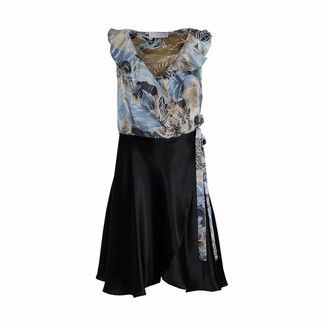 Roses Are Red Renee Silk Dress in Blue Floral and Black