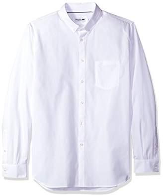 Lacoste Men's Long Sleeve Pocket Textured Solid Poplin Regular Fit Woven Shirt