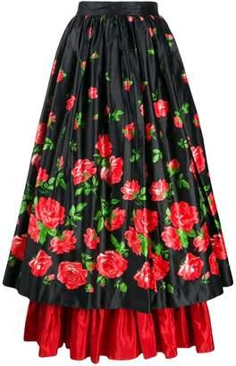 Saint Laurent PRE-OWNED rose print maxi skirt