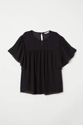 H&M Flounce-sleeved Blouse - Black