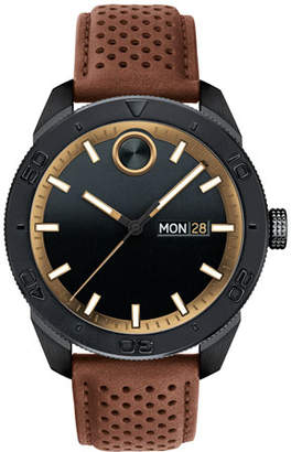 Movado Bold Men's 43mm Bold Sport 3-Hand Day/Date Watch with Brown Leather Strap