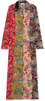Anjuna - Augustina Crochet-trimmed Printed Silk Crepe De Chine Robe - Red
