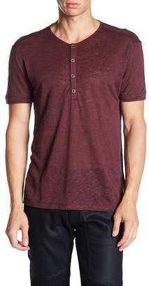 John Varvatos Collection Short Sleeve Jersey Knit Linen Henley