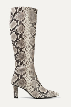 STAUD Benny Snake-effect Leather Knee Boots - Snake print