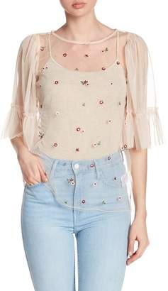Ro & De Floral Embroidered Sheer Mesh Blouse