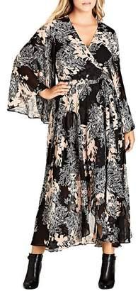 City Chic Plus Shadow Floral Print Maxi Wrap Dress