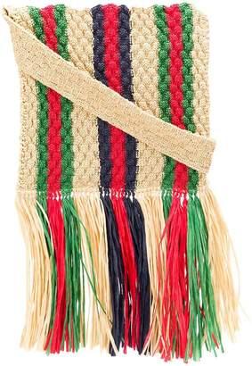 Gucci striped straw shoulder bag