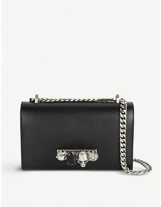 Alexander McQueen Black and Silver Avant Garde Jewelled Satchel Leather Shoulder Bag