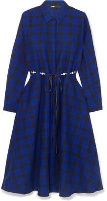 Maje Belted Checked Cotton-flannel Midi Dress - Black