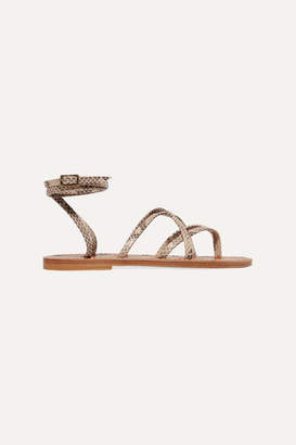 K Jacques St Tropez Zenobie Snake-effect Leather Sandals