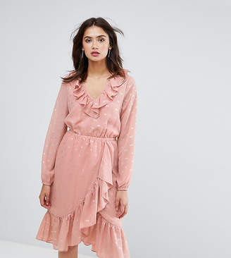 Y.A.S Tall spot ruffle wrap midi dress in pink