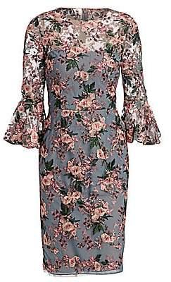 David Meister Women's Bell Sleeve Floral Sheath Dress