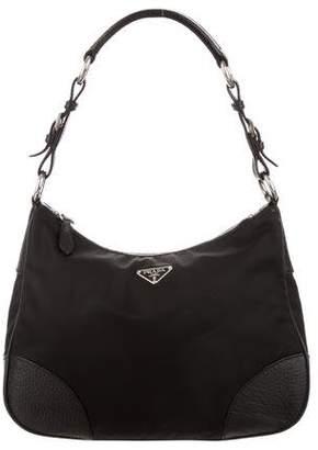 Prada Leather-Trim Tessuto Hobo