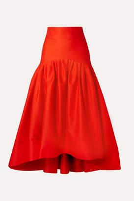 Rosie Assoulin Brush Tiered Pleated Cotton-poplin Midi Skirt - Tomato red