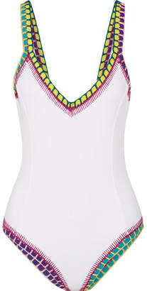 Kiini Yaz Crochet-trimmed Swimsuit - White