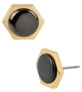 Kenneth Cole NEW YORK Gold & Black Tone Hexagonal Earrings