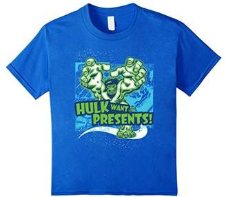 Marvel Hulk Want Presents Halftone Holiday Graphic T-Shirt