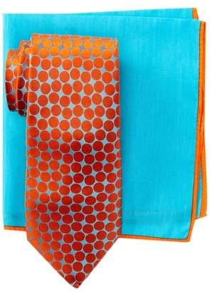 Ted Baker Large Dots Silk Tie & Pocket Square Set