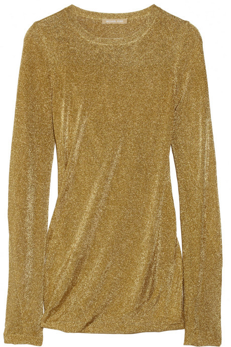 Michael Kors Draped fine-knit lamé top