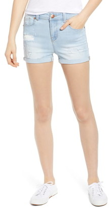 1822 Denim Distressed Roll Cuff Shorts