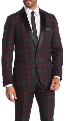 Paisley & Gray Fall Plaid One Button Peak Lapel Slim Fit Tuxedo Jacket