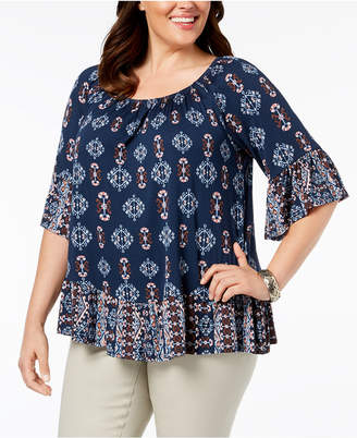 Style&Co. Style & Co Plus Size Flounce-Trim Top, Created for Macy's