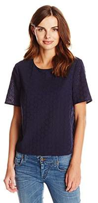 Lark & Ro Women's 3/4 Sleeve Eyelet Top