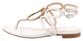 Sergio Rossi Leather Cutout Sandals