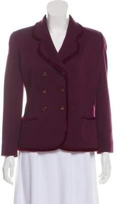 Ungaro Velvet-Accented Wool Blazer