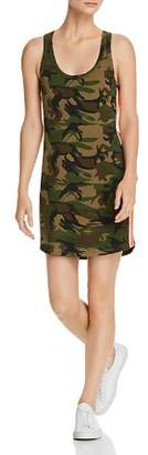 Pam & Gela Striped-Trim Camo Tank Dress