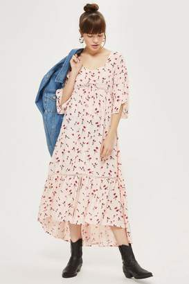 Topshop Ruched Floral Print Skater Dress
