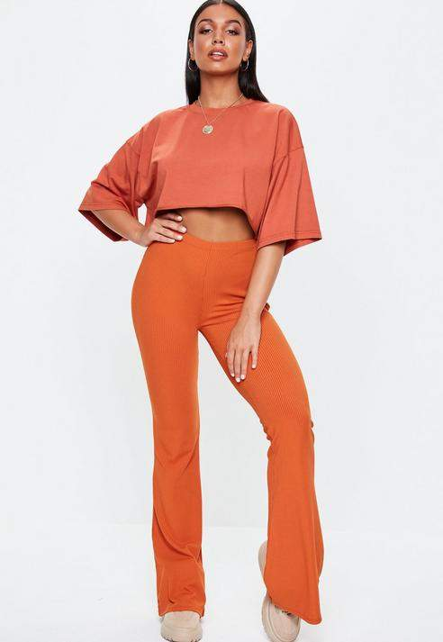 Rust Ribbed Flared Trousers, Rust