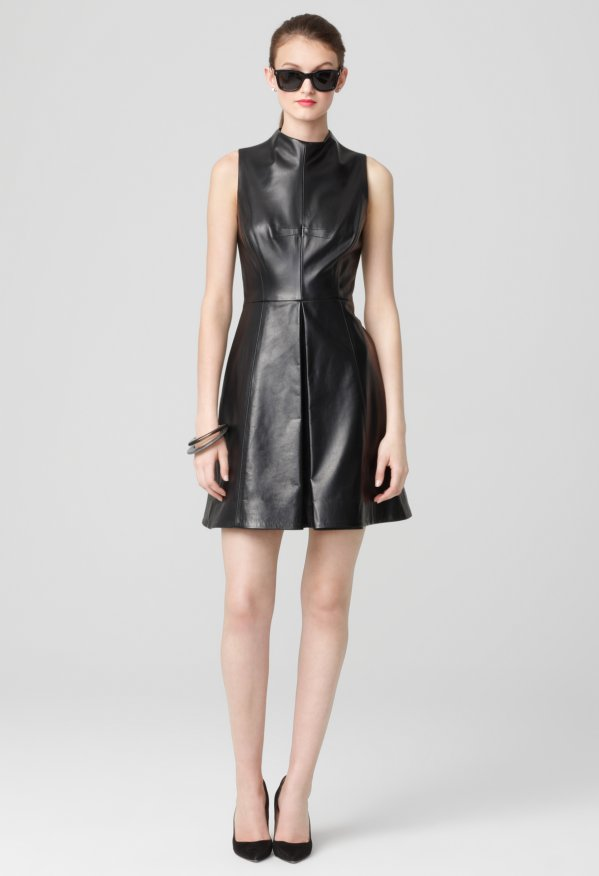 Milly Black Dresses -   Lamb Leather Funnelneck Pleat Dress