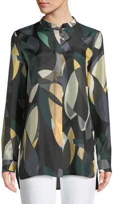 Lafayette 148 New York Brayden Ornamental Mosaic Silk Blouse