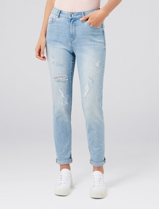 Forever New Emmy Mid-Rise Girlfriend Jeans - MOROCCO BLUE DISTRESS - 4