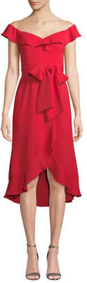 Jay Godfrey Silky Crepe Bow & Ruffle Dress