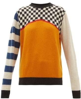 The Elder Statesman Checked Cashmere Sweater - Womens - Ivory Multi